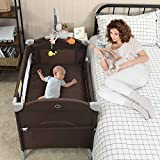 BABY JOY 5-in-1 Baby Bedside Sleeper, Pack n Play with Bassinet, Side Sleeper for Babies w/Oversized Diaper Changer, Music Box & 3 Hanging Toys, Carrying Bag for Easy Transportation (Coffee)