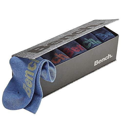 Bench, 6 Paar Herren Socken, Strümpfe, mit farbigen Logos in Geschenkbox (39-42, jeans)