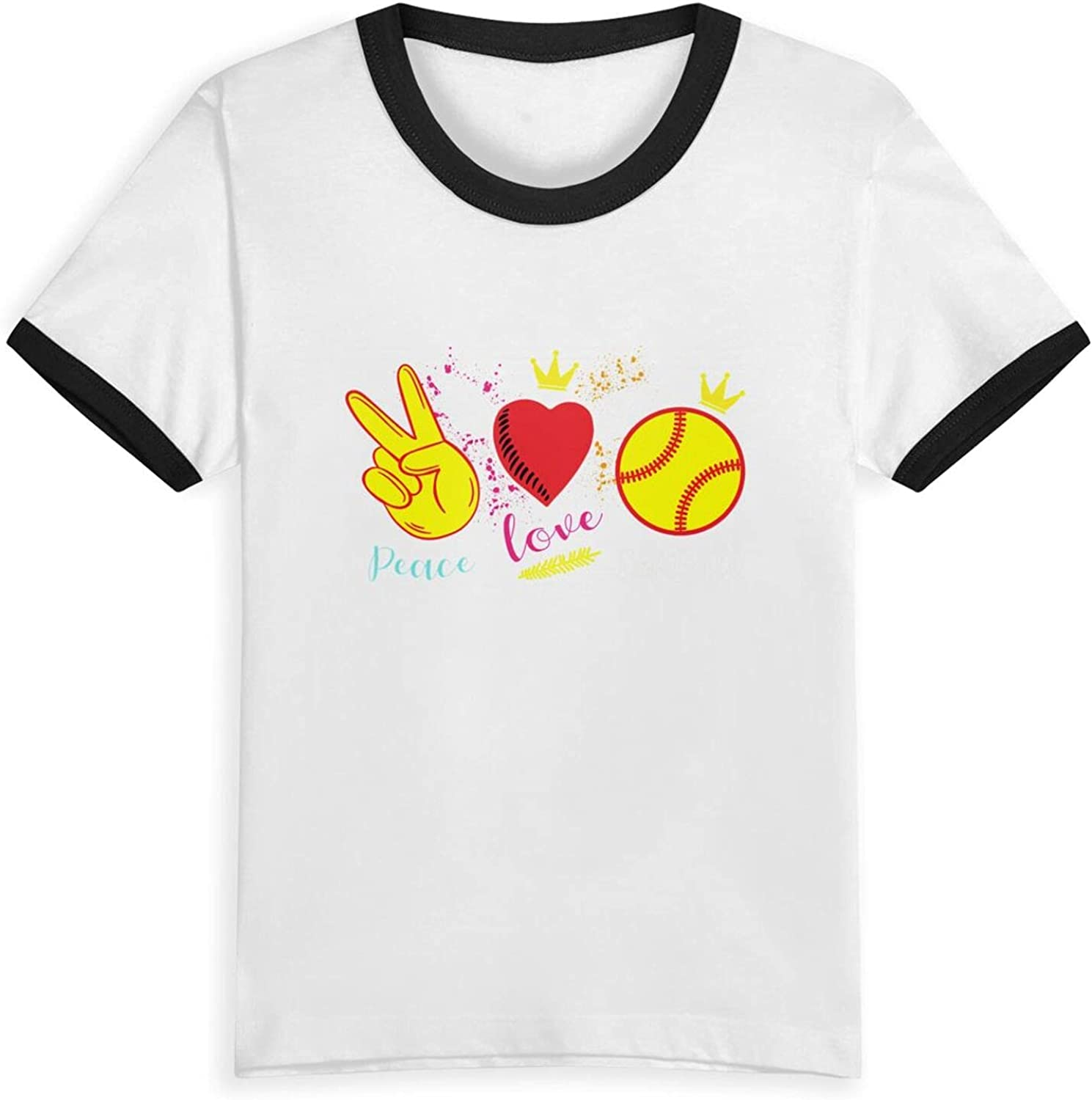 Peace Love Softball T-Shirts Novelty for Girls Tees with Cool Designs
