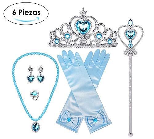 AutoWT Princesa Vestirse Elsa Accesorios Set, Juego de disfraces de fiesta de 6 piezas para princesa…