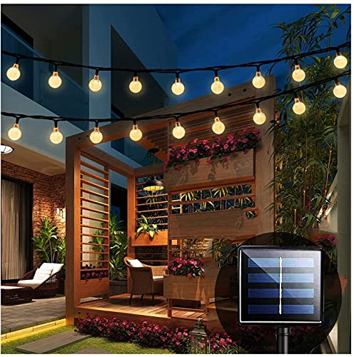 luces solares de jardín, 30 bolas de cristal, 20 pies, guirnalda de luces solares cadena de luces resistente al agua para exterior/interior, iluminación decorativa para hogar, patio, fiesta, Navidad.