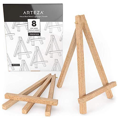ARTEZA Mini caballete expositor de madera | 20,32 cm | Pack de 8 atriles miniatura | Ideales para exponer lienzos pequeños, tarjetas de visita y fotos