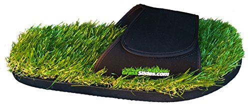 GrassSlides Shoes are Made from Real Turf, Slippers, Sandals, flip Flops, Slips. (L (10-11)) Green