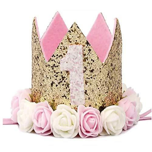 Healthy clubs Geburtstag Krone 1 Jahr Baby Geburtstagskrone Haarband Haarschmuck Prinzessin Blumen Königskrone Hüte für Party Dekorationen (Color 1)