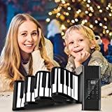 pant tastiera elettronica,tastiera musicale portatile per pianoforte (88 tasti), flessibile pianoforte pieghevole con batteria ricaricabile usb e display a led