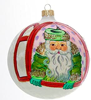 Green Santa in Red Window Hand Painted and Mouth Blown Christmas Ornament Ball - Produced by Hand in Poland