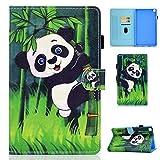 Succtop Hülle für Galaxy Tab A7 10,4 Zoll 2020, Folio Flip PU Leder Schutzhülle Galaxy Tab A7 Stifthalter Stand Wallet Cover Hülle Tablet Hülle Samsung Galaxy Tab A7 T500/T505/T507, Panda Bambus