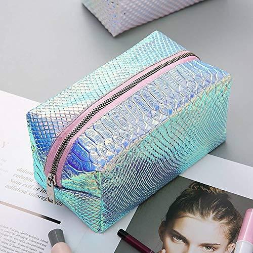 YOLK Bolsa de cosméticos con patrón de escamas de pescado láser para mujer, bolsa de almacenamiento de cosméticos, bolsa de viaje casual de maquillaje