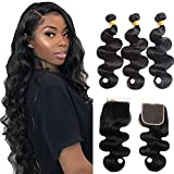 Body Wave 3 Bundles with Closure 100% Unprocessed Brazilian Body Wave Human Hair Weave with 4x4 Free Part Lace Closure Natural Color (20 22 24+18, Bundles with Closure)