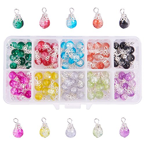 PandaHall 100pcs 10 Colore Crackle Perline di Vetro con ciondoli Argento per bigiotteria Fai da Te Collana orecchino Accessorio