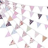 tiopeia 39.3 Ft Wimpel Banner Wimpelkette Wimpel Girlande mit 42 Stück Fahnen in 12Verschiedenen Dreieck Flaggen Wimpel Banner für Hochzeits Babyparty