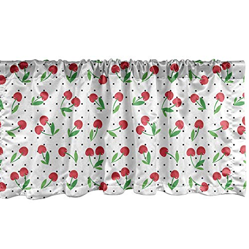 """Lunarable Fruit Window Valance, Botanical Ripe Cherry Branches on Polka Dots Farming Delicious Gardening, Curtain Valance for Kitchen Bedroom Decor with Rod Pocket, 54"""" X 12"""", Red Green"""