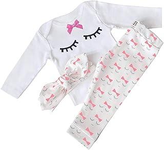 Yilaku Baby Girl Clothes Set Tops + Headband + Pants Cute Eyelash Newborn Girls Outfits Clothing
