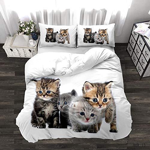 Fundas Nórdica 3D,Kitten Animal Impreso Microfibra Suave Funda Nórdica Cuidado Fácil Cremallera Oculta King Size Ropa De Cama Antialérgica Adultos Niños Cama Doble, 180 * 220Cm / 70.86 * 86.61 In