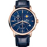 Edox Men's Les Bemonts Stainless Steel Swiss-Quartz Watch with Leather Strap, Blue, 22 (Model: 01651 37R BUIR)