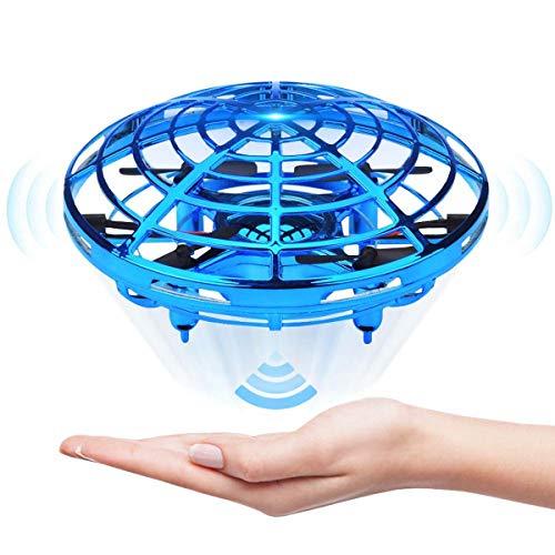 WDGP Droni azionati a Mano per Bambini o Adulti - Mini Elicottero Drone a Mani libere Scoot, Giocattoli per droni con Palla Volante a Sfera Piccola Coperta per Ragazzi o Ragazze (Blu)