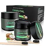 WOSTOO Polvo de Dientes, Polvo de Blanqueamiento de Carbón Activado Natural 2*80g+2 cepillos de bambú Teeth Whitening Powder Mejora la Salud Oral para Blanquear Dientes Sensibles Rápida, Eficazmente