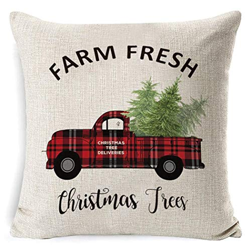 Nessere Christmas Series Printed Pillowcase Soft Decoration Linen Cushion Cover Pillowcases
