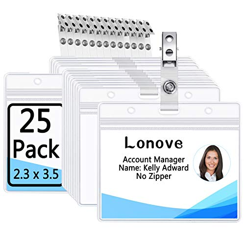 Clear Plastic Horizontal Name Tag Holders and Metal Badge Clips with Vinyl Strap Waterproof PVC ID Card Holder by LONOVE (25 Pack, Horizontal 2.3x3.5)