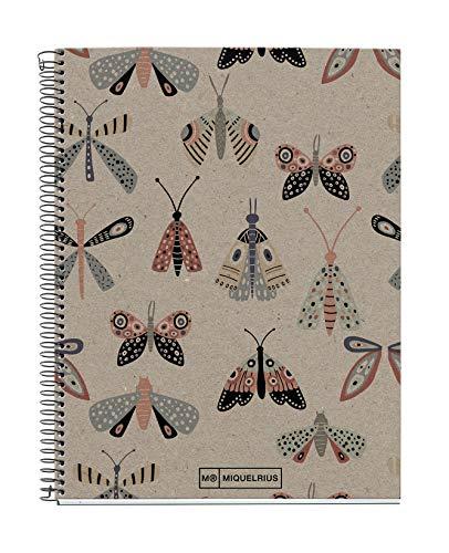 Miquelrius - Cuaderno Libreta Notebook 100% Reciclado - 1 franja de color, A5, 80 Hojas de Rayas Horizontales, Papel 80 g, 2 Taladros, Cubierta de Cartón Reciclado, Diseño Ecobutterfly