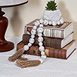 GENMOUS & CO. Wood Bead Garland with Tassels Farmhouse Decorative Wooden Beads Garland Decor Prayer Beads for Rustic Country Wall Hanging Decor 39 Inches(Whitewashed)
