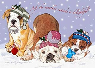 Bulldog Christmas Cards : 10 Holiday Cards with Red Envelopes - ADORABLE!
