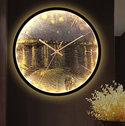 TYPING Reloj De Pared Luminoso Fluorescente Negro Oro Silencioso Moderno 30 Cm con Iluminación LED Luminosa Luz Nocturna Decorativa De Metal, Negro