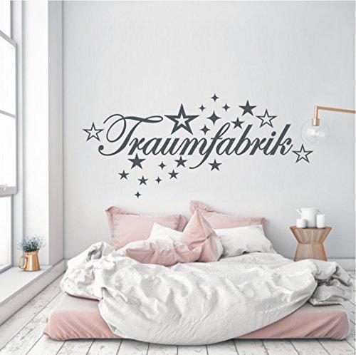 HomeTattoo ® WANDTATTOO Wandaufkleber Traumfabrik Schriftzug Sterne Schlafzimmer 385 XL ( L x B ) ca. 58 x 130 cm (hellgrau 072)
