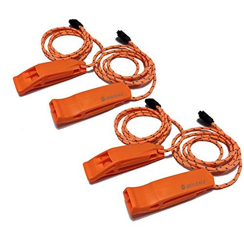 HOLDALL - Fischietto di emergenza con cordino, fischietto di sicurezza, per campeggio, sopravvivenza, kayak, canottaggio e segnalazione (arancione-4 pezzi)