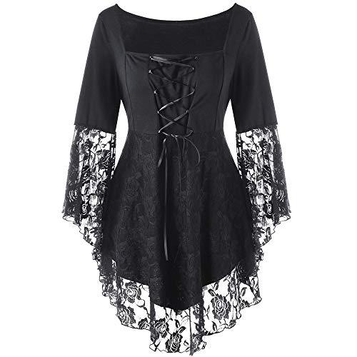 Oyedens Große Größe Bluse T-Shirt Top Damen, Platz Kragen Floral Lace Up Patchwork Bänder Gothic Kleidung Langarm Spitzen Shirt Mit Stehkragen