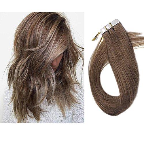 Echthaar Tape in Extensions Haarverdichtung Haarverlängerung glatt 20 Tressen x 4 cm breit 45 cm Goldbraun