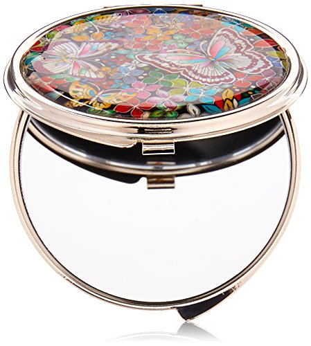 Mother of Pearl Butterfly Flower Double Compact Cosmetic Makeup Handbag Pocket Beauty Purse Mirror, 3.2 Ounce by Antique Alive