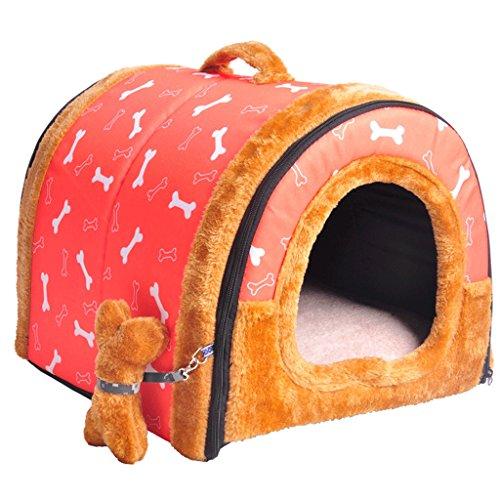 LM921 Huisdier tenten - hond en kat zacht bed, de beste huisdier benodigdheden, winter warme hond huis huisdier bed, kleine, middelgrote en grote huisdier bed,Arc dual-use huisdier huis, roze botten vouw huisdier nest, L, roze
