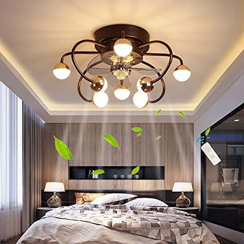 Ventilador De Techo Con Luz De Techo LED Control Remoto Ventilador Silencioso Regulable Iluminación Del Dormitorio Moderno Ventilador De 8 Llamas Candelabro Sala De Estar Dormitorio Comedor,Marrón