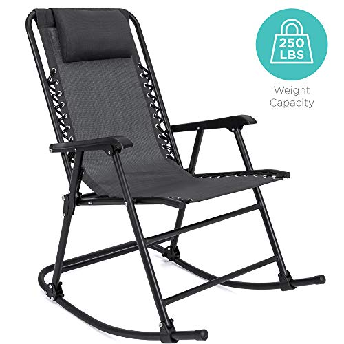 Best Choice Products Foldable Zero Gravity Rocking Patio Recliner Chair Black