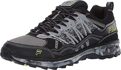 Fila Mens EVERGRAND CAMO Trail Shoe Hiking, Monument/Black/Safety Yellow,10.5