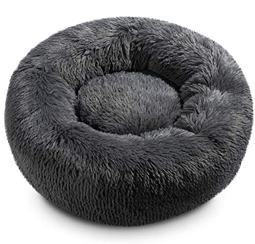 JCT Dog Bed Soft Cat Bed 50cm Plush Cat Calming Bed Fluffy Pet Nest for Small Medium Large Pet,Winter Warm Faux Fur Kennel Puppy Sofa,Anti-Slip Bottom - Machine Washable (50cm Suit 5kg, Dark Grey)