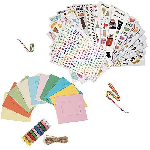 Pacchetto di accessori da regalo natalizi per HP Sprocket, stampante istantanea Prynt: set di 7 adesivi colorati + 10 kit di cornici da appendere + laccetti per collo e polso