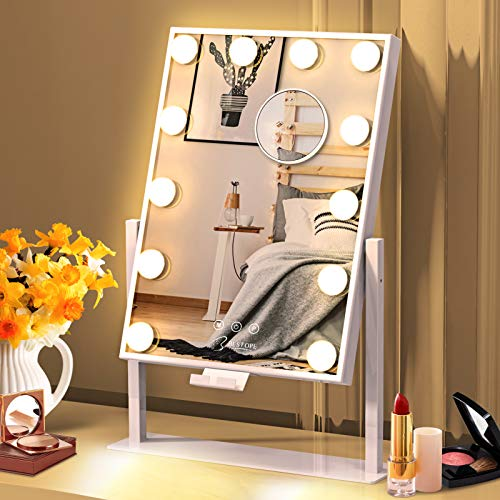 BESTOPE Vanity Mirror with Lights Hollywood Mirror Lighted Makeup Mirror with Phone Holder,3 Color Lighting Modes Detachable 10X Magnification Mirror,14x21 Inch,Touch Control,360°Rotation