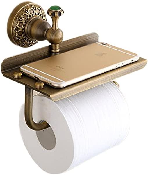 Beelee Bathroom Tissue Holder Toilet Paper Holder Solid Brass Wall Mounted Toilet Roll Holder Toilet Paper Tissue Holder With Mobile Phone Storage Shelf Antique Brass Finished