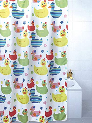 Quackers Duck Polyester Shower Curtain 180cm x 180cm includes Hooks by Blue Canyon