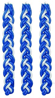 Set of 3 Blue and White Braided Havdalah Wax Candle