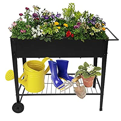 Raised Planter Box with Legs Outdoor Elevated G...