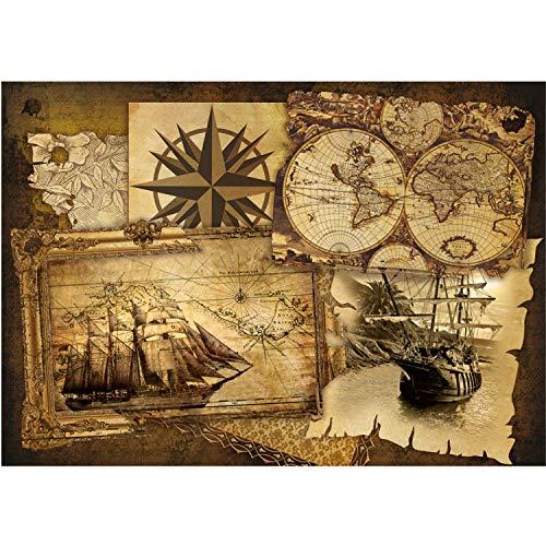 Vlies Fototapete PREMIUM PLUS Wand Foto Tapete Wand Bild Vliestapete - Geografie Karte Schiff Vintage Kompass - no. 1861, Größe:368x254cm Vlies