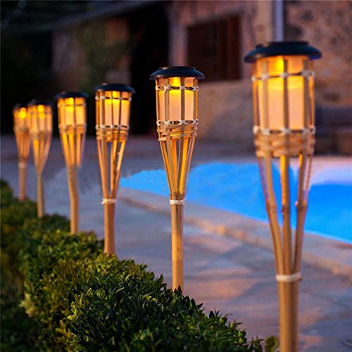 Mgxdd Solar Bamboo Tiki Torch Flame Warm LED Amber Flickering Light Landscape,4PACK