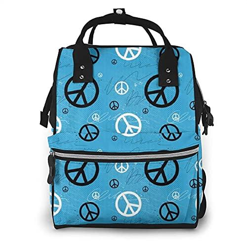 Love Peace Sign - Bolsa de pañales multifunción para el cuidado del bebé, impermeable, amplia mochila de viaje abierta para organización
