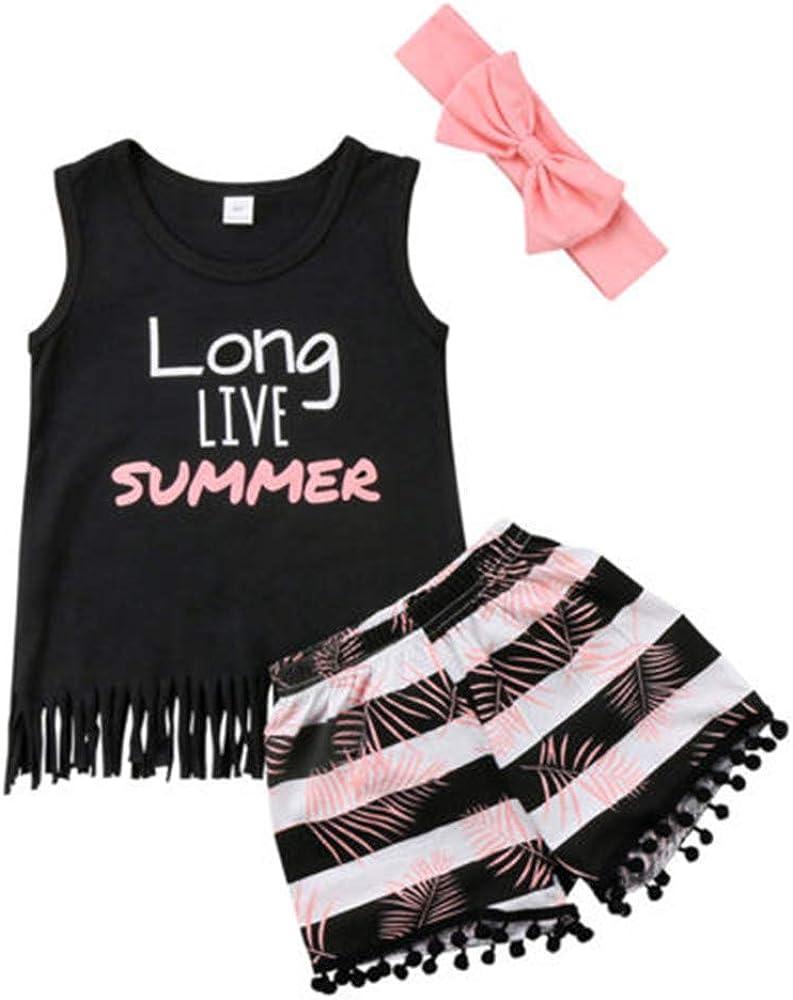 Toddler Baby Girl Boy Fringe Outfits Tank Top+Tassel Shorts+ Headband Summer Clothes Set