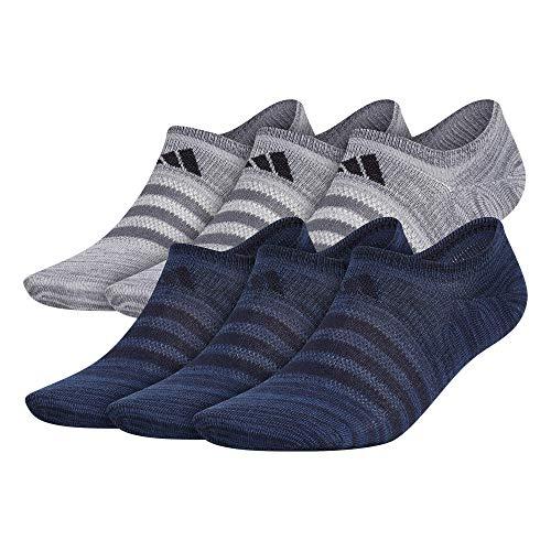 adidas mens Superlite Super No Show Socks (6-Pair) , Legend Ink Blue/Night Marine Blue/Onix Grey, Large