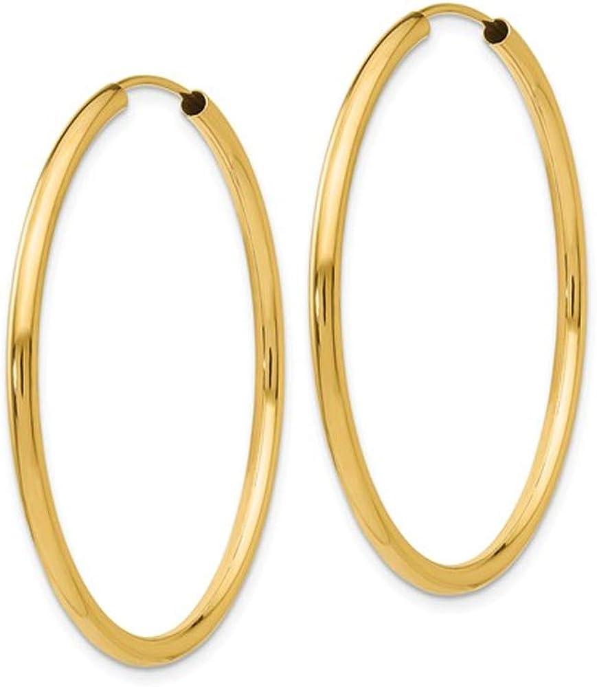 14K Yellow Gold Medium Hoop Earrings 1 1/2 Inch (2.00 mm)