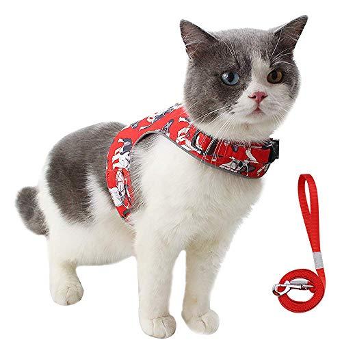 Dociote Katzengeschirr mit Leine Set - ausbruchsicheres Geschirr für Katze - Brustgeschirr Weste mit reflektierende Streifen für kleine & mittele Katzen Hunde M Rot